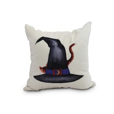 Cat Behind the Hat 20 Inch Cream Halloween Print Decorative Throw Pillow - Walmart.com