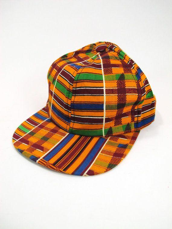 b6be0adc967 Kente Cloth Snap Back Cap African Print 80s 90s by kokorokoko ...