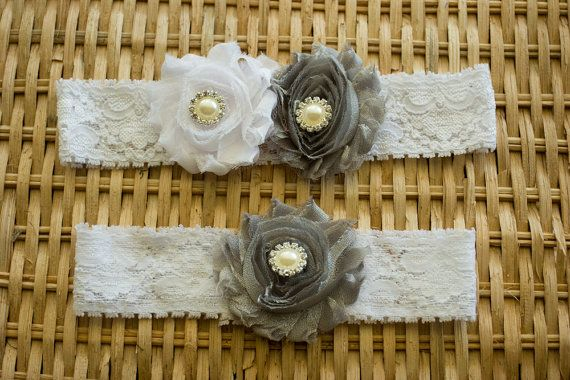 Silver and White Wedding Garter Set Bridal by ThePinkBunnyWeddings, $18.99