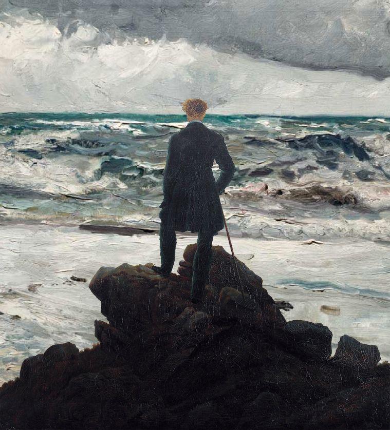 Hombre mirando al mar de tormenta - Friedrich Sorolla