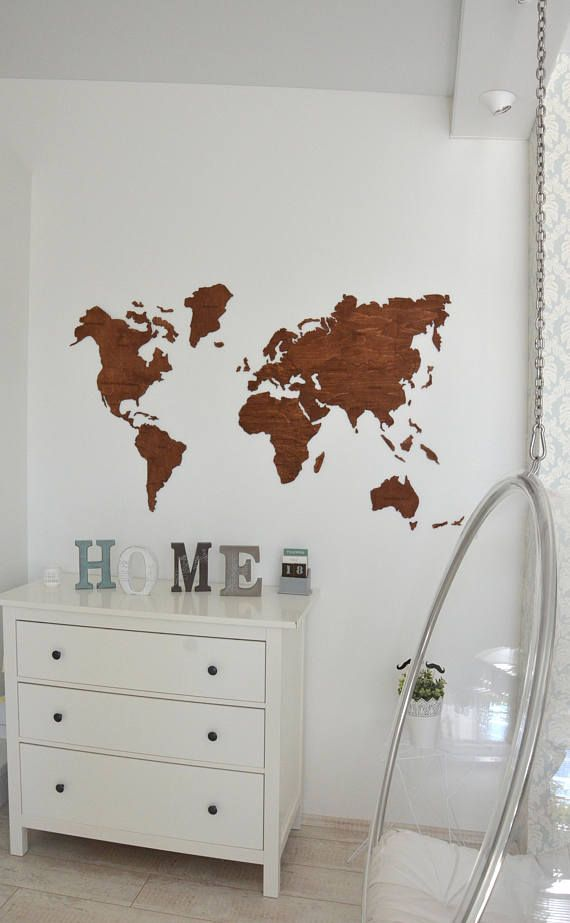 ON SALE Wall World Map Wooden Large Travel Map of the World | Deko ...