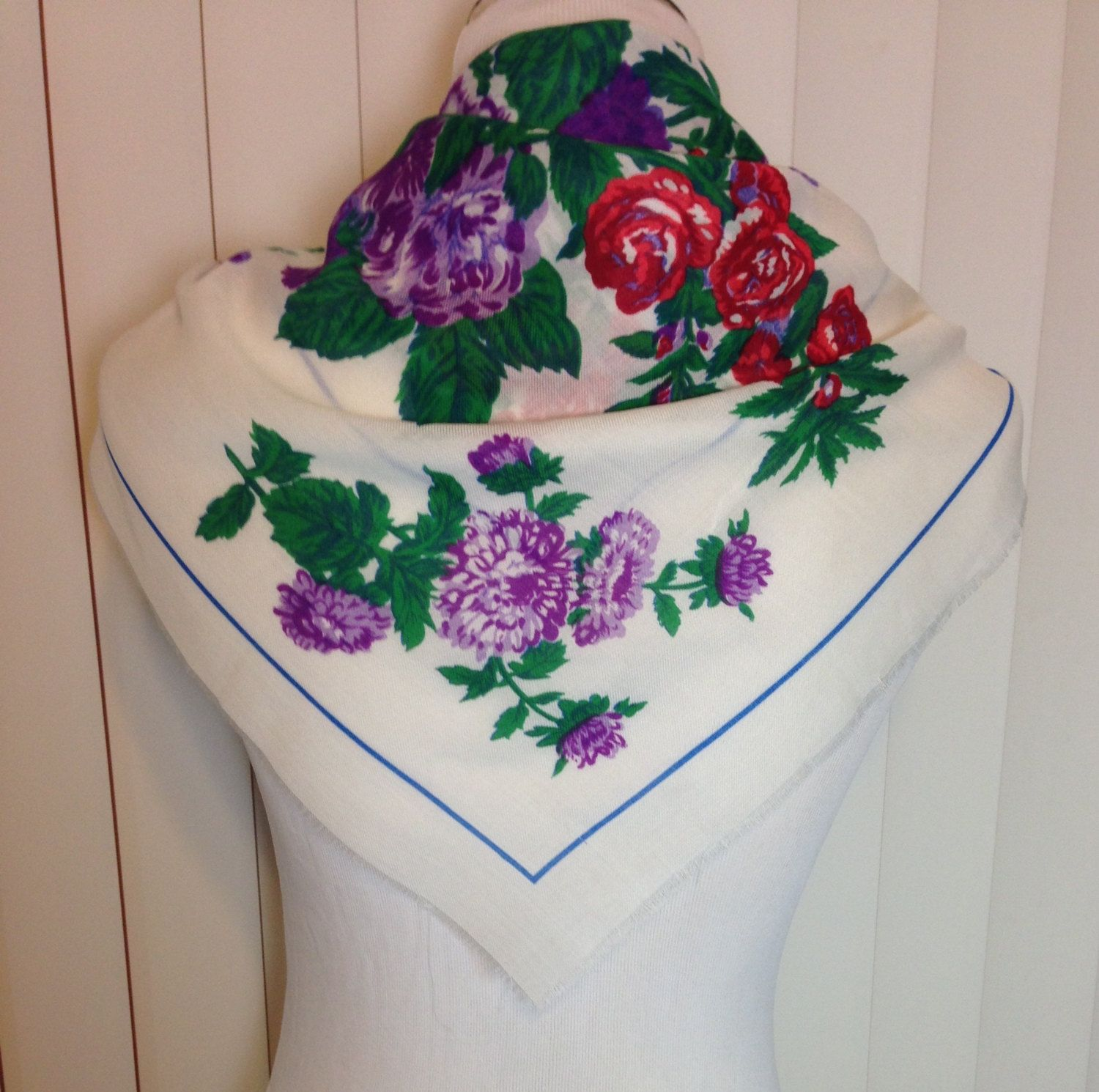 Vintage Glentex White Scarf with Purple and Red Flowers by Oldtonewjewels on Etsy