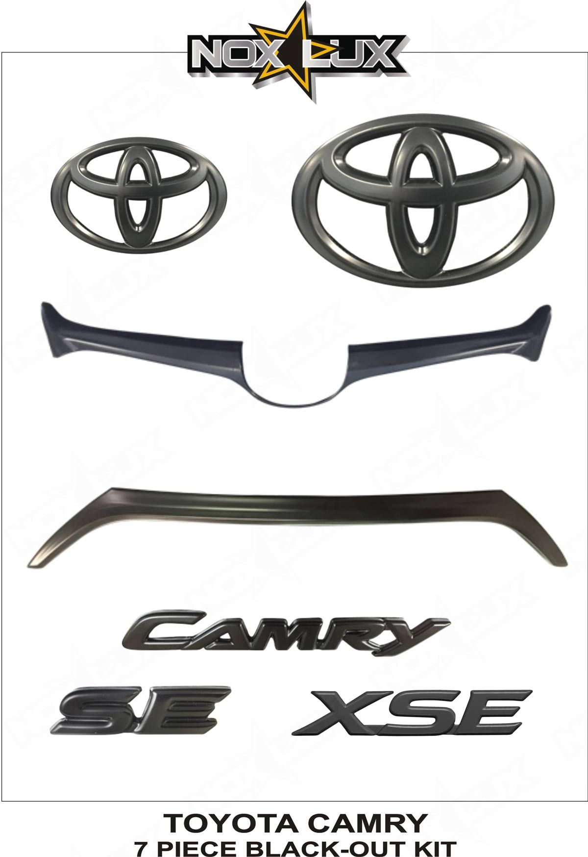 Nox lux 2015 2016 2017 toyota camry se xse emblem gloss black out overlay badge kit oem 7 pieces we offer the best in automobile accessories