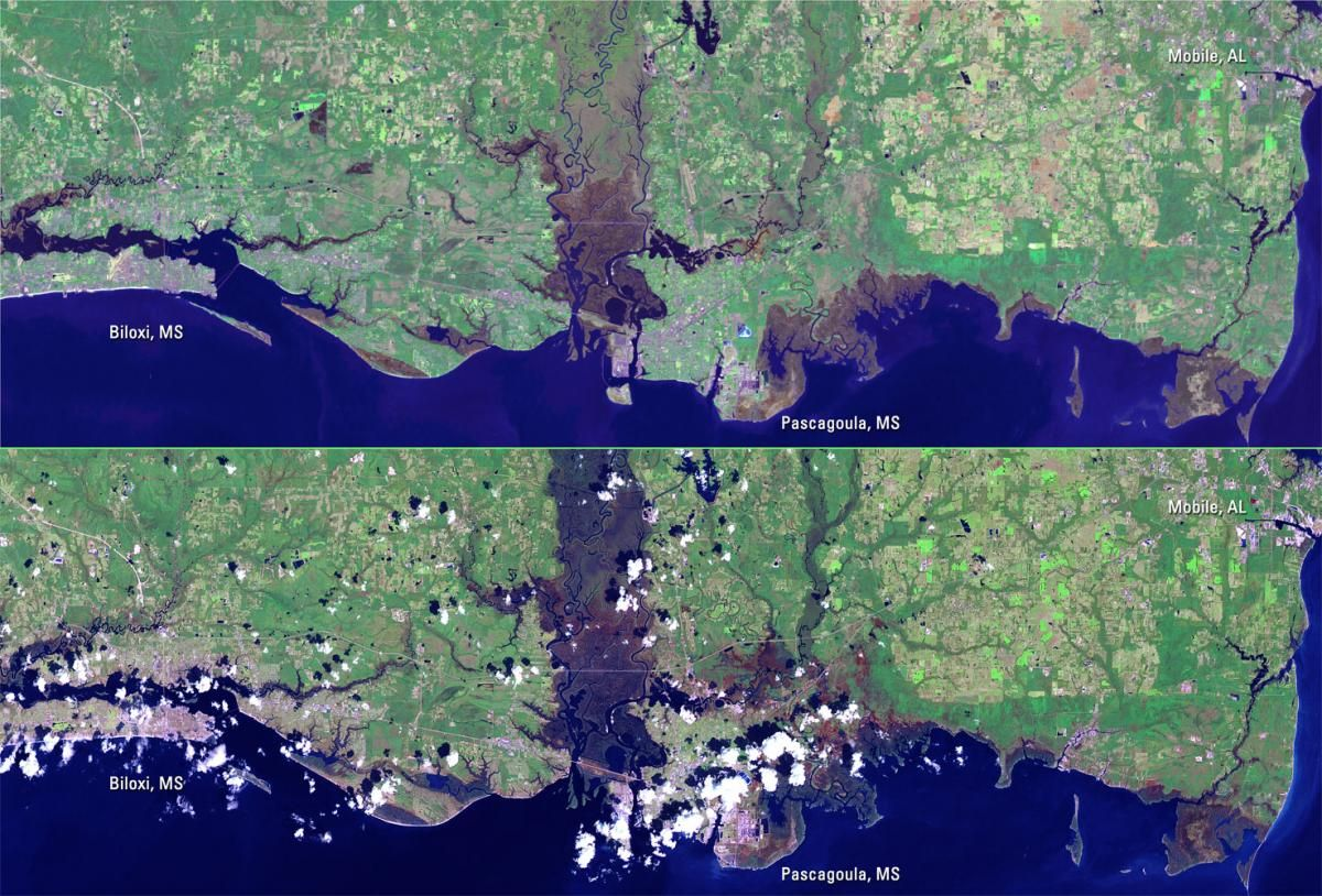 Landsat 7 Images Show Damage From Hurricane Katrina Along The Mississippi Gulf Coast From Hurricane Katrina Us Army Corps Of Engineers Army Corps Of Engineers