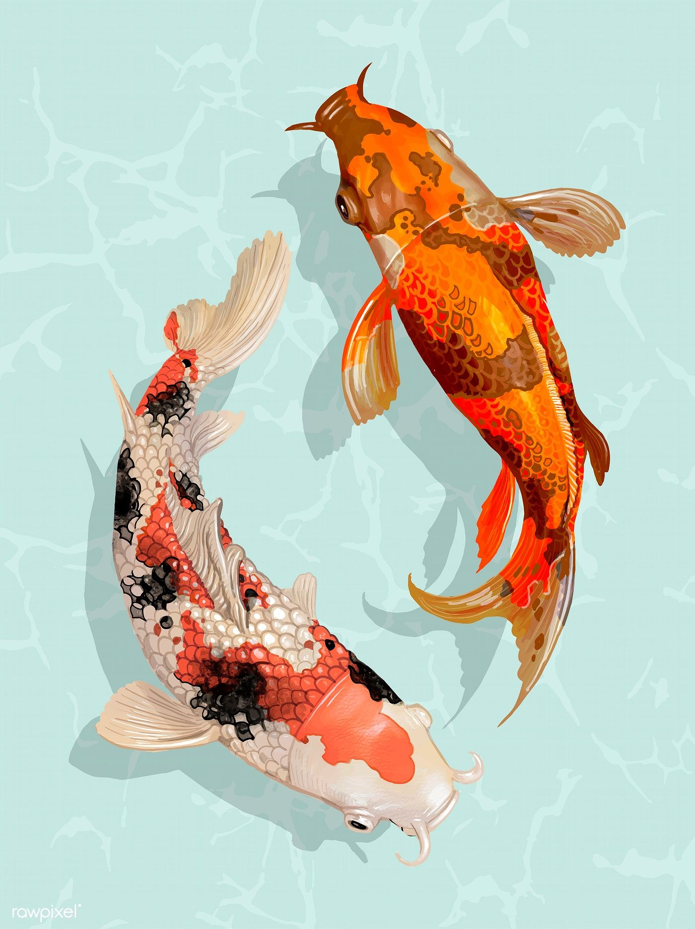 Download Premium Vector Of Two Japanese Koi Fish Swimming 449895 Japanese Koi Koi Art Koi Painting