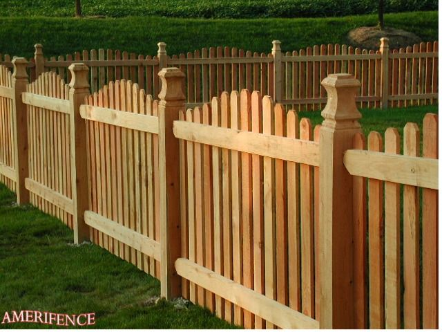Crowned Picket Fence Wood Fence Fence Design Backyard Fences Wood Fence Design