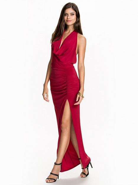 Cowl Neck Slit Dress - Nly One - Wine Red - Party Dresses - Clothing -  Women - Nelly.com 5fac5619355b0