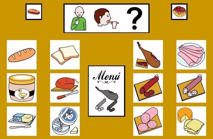 """""""Tablero de comunicación: Embutidos"""". Recopilación de  diferentes tableros de comunicación de 12 casillas, organizados por necesidades básicas y centros de interés.  Los tableros pueden imprimirse tal como aparecen en los documentos o bien se puede modificar el contenido, la forma, el color, etc., para adaptarlos a las características individuales de cada usuario. Pueden utilizarse también para trabajar distintos repertorios de vocabulario agrupado por temas o categorías."""
