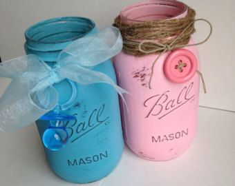 Elegant Set Of 3 Handpainted And Distressed Ball Mason Jars, Baby Shower, Baby  Girl, Pink, Nursery Decor, Polka Dots, Centerpiece