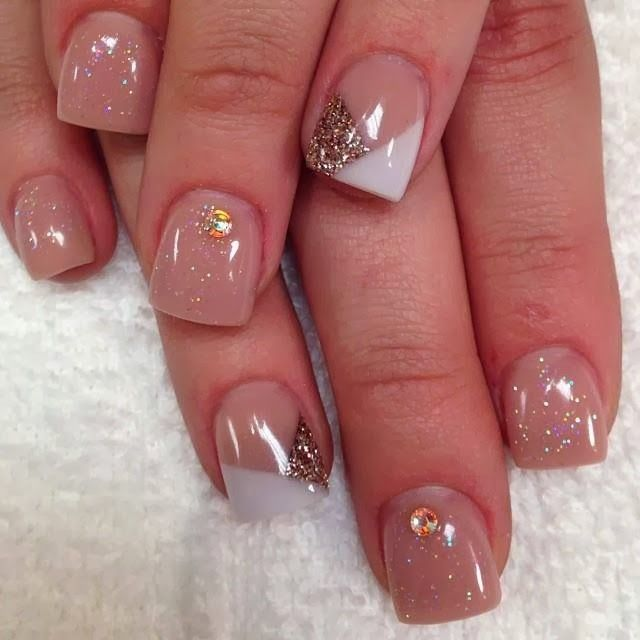 Gel backfill LED polish manicure with chevron French white and ...