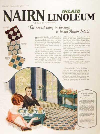 1925 Nairn Linoleum Floors Original Vintage Advertisement
