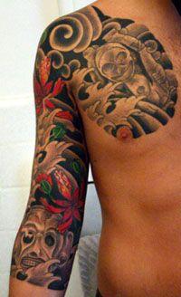 Three Quarter Sleeve With Skulls Quarter Sleeve Tattoos Tattoo Sleeve Men Best Sleeve Tattoos