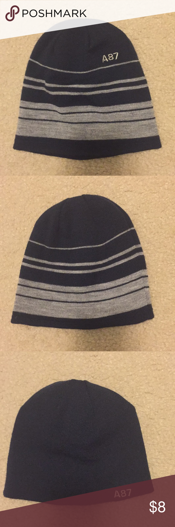 104f304767f Aeropostale Reversible Beanie Excellent used condition reversible beanie.  One side is all navy and the