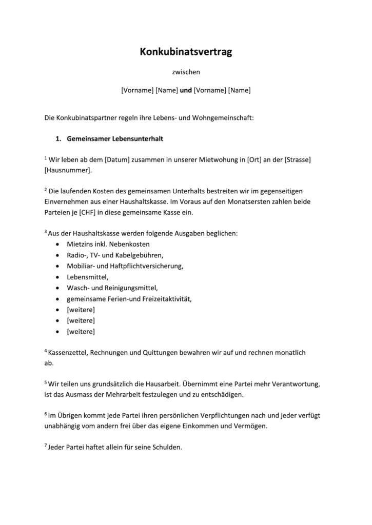 Konkubinatsvertrag Vorlage In 2020 Vertrag Vorlagen Unterhalt