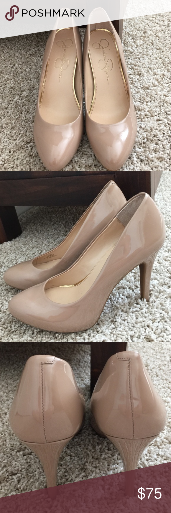 """Jessica Simpson Nude Pumps Jessica Simpson Nude Pumps. Size 10. Worn one time - in excellent condition. There are a couple scratches on the back of the left heel, but you can't see them unless you look for them. 5"""" heel. Jessica Simpson Shoes Heels"""