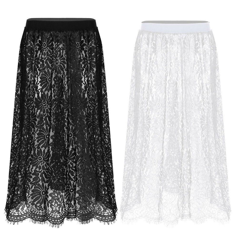 Women Lace Slip Hollow Dress Skirt Extender Knee Length A-Line Half Extenders