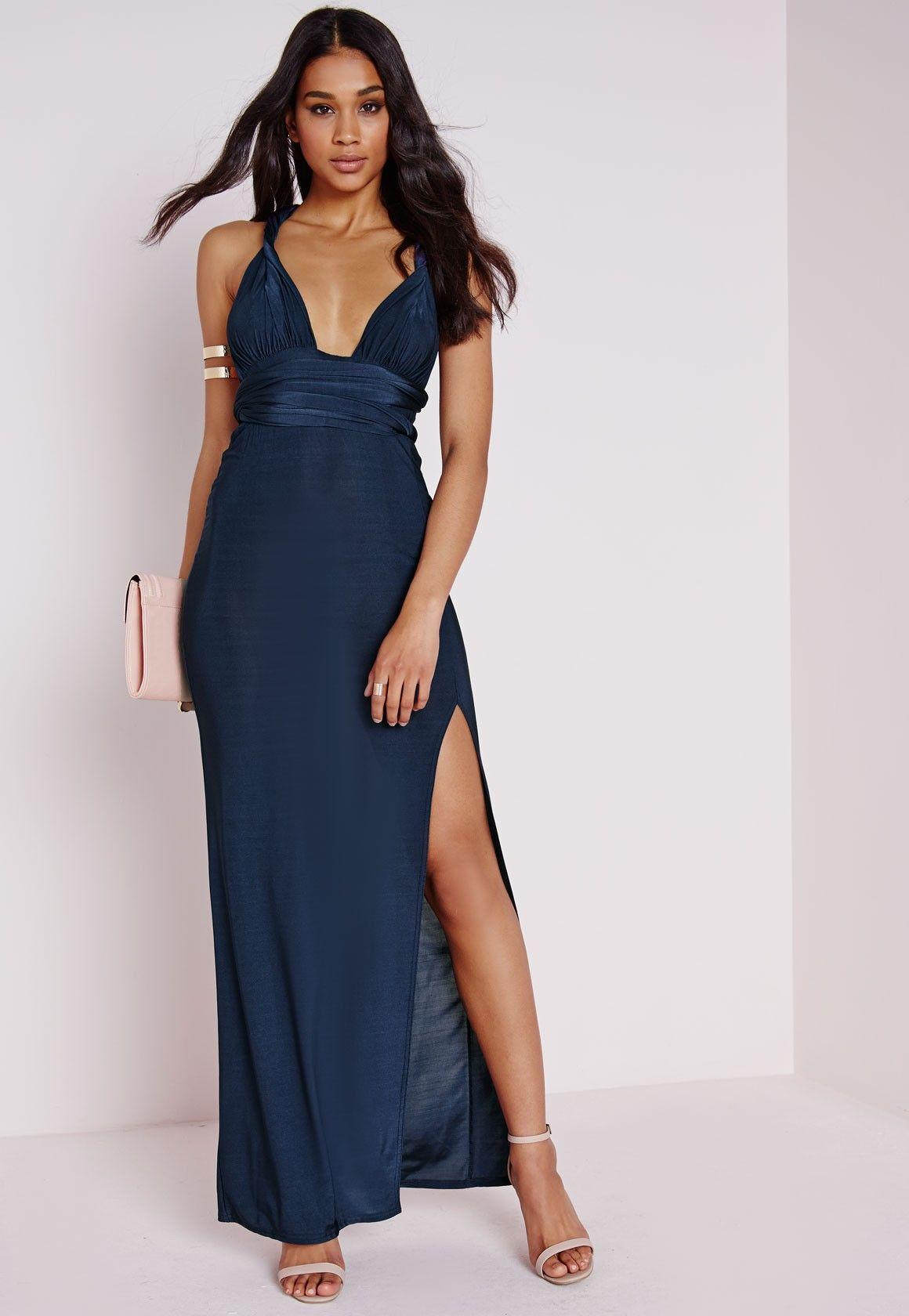 e0e87e2562c Do Me Any Way Multiway Slinky Maxi Dress Navy - Dresses - Maxi Dresses -  Missguided