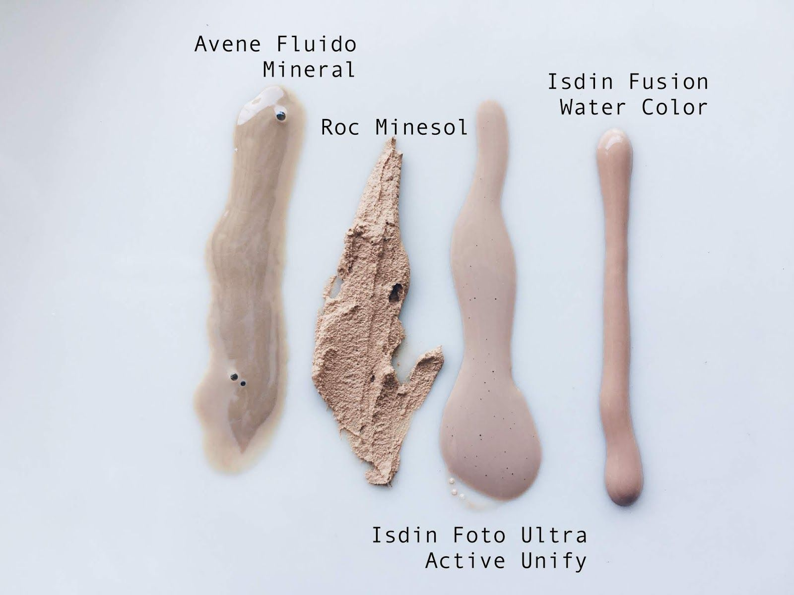 Isdin Fusion Water Color Color Unify Y Avene Fluido Mineral Tres