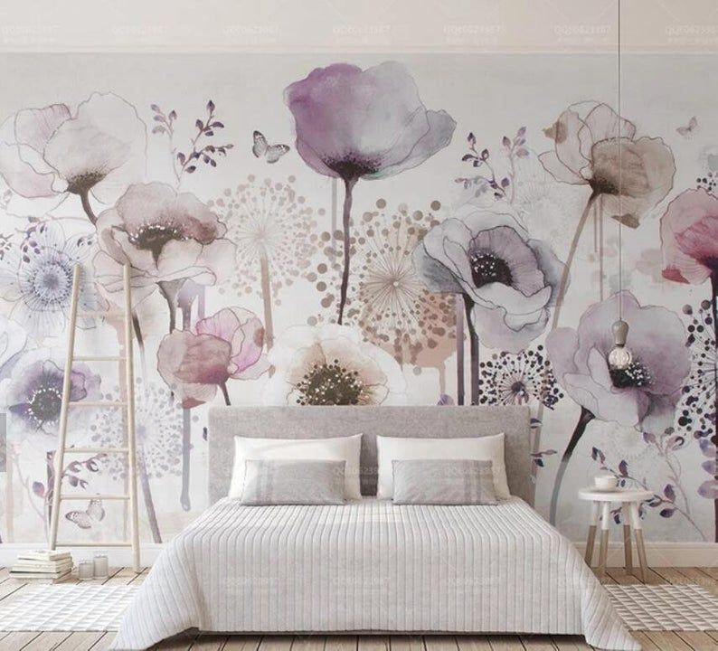 3d Hand Painted Watercolor Lavender Flower Wallpaper Removable Self Adhesive Wallpaper Wall Mural Vintage Art Peel And Stick Wall Murals Mural Wallpaper Removable Wallpaper