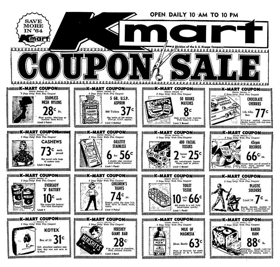 Kmart Coupons Kmart Coupon Sale January 1964 1960 S Newspaper Vintage Retail