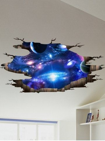 Ceiling Floor Decor 3D Galaxy Planet Wall Stickers | Pinterest ...