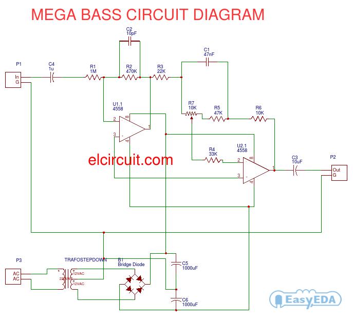 mega bass circuit using 4558 diy amplifier. Black Bedroom Furniture Sets. Home Design Ideas
