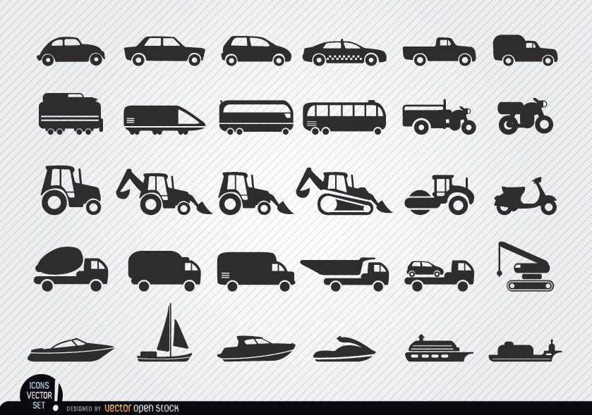 Vehículos y naves siluetas icono conjunto