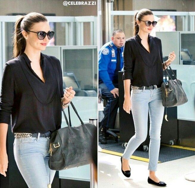 Miranda Kerr: sleek black shirt and light blue jeans. | Styles I ...