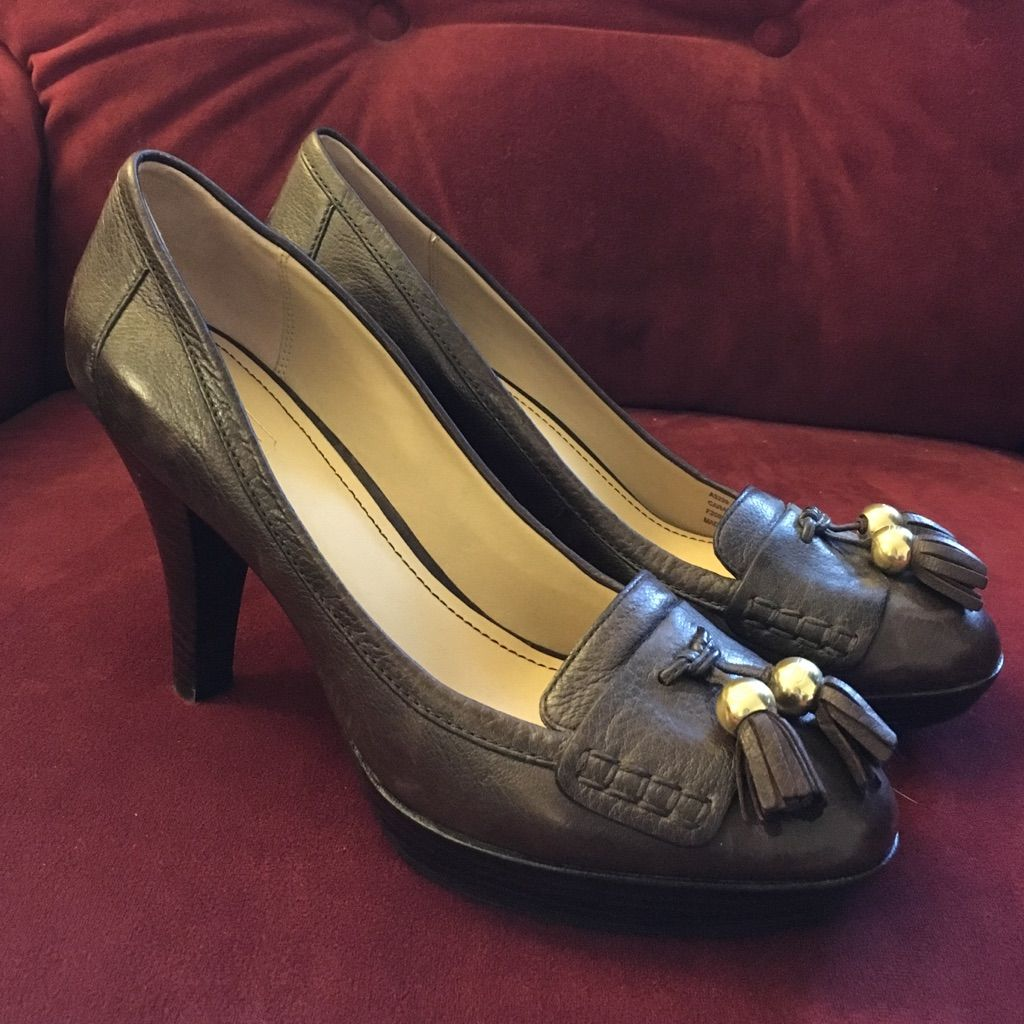 "Brown Leather Coach """"Loafer"""" Heels"