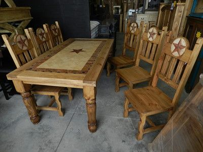 499 Old West Natural Texas Star Rough Cut Wood Marble 6 Foot Dining Table