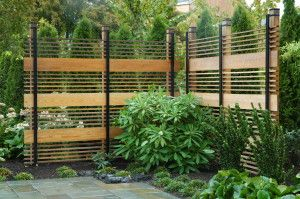 Metal And Wood Fence Design