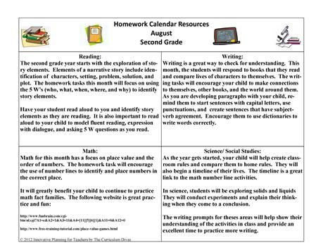 Nd Grade Homework Calendar  These Calendars Give An Organized