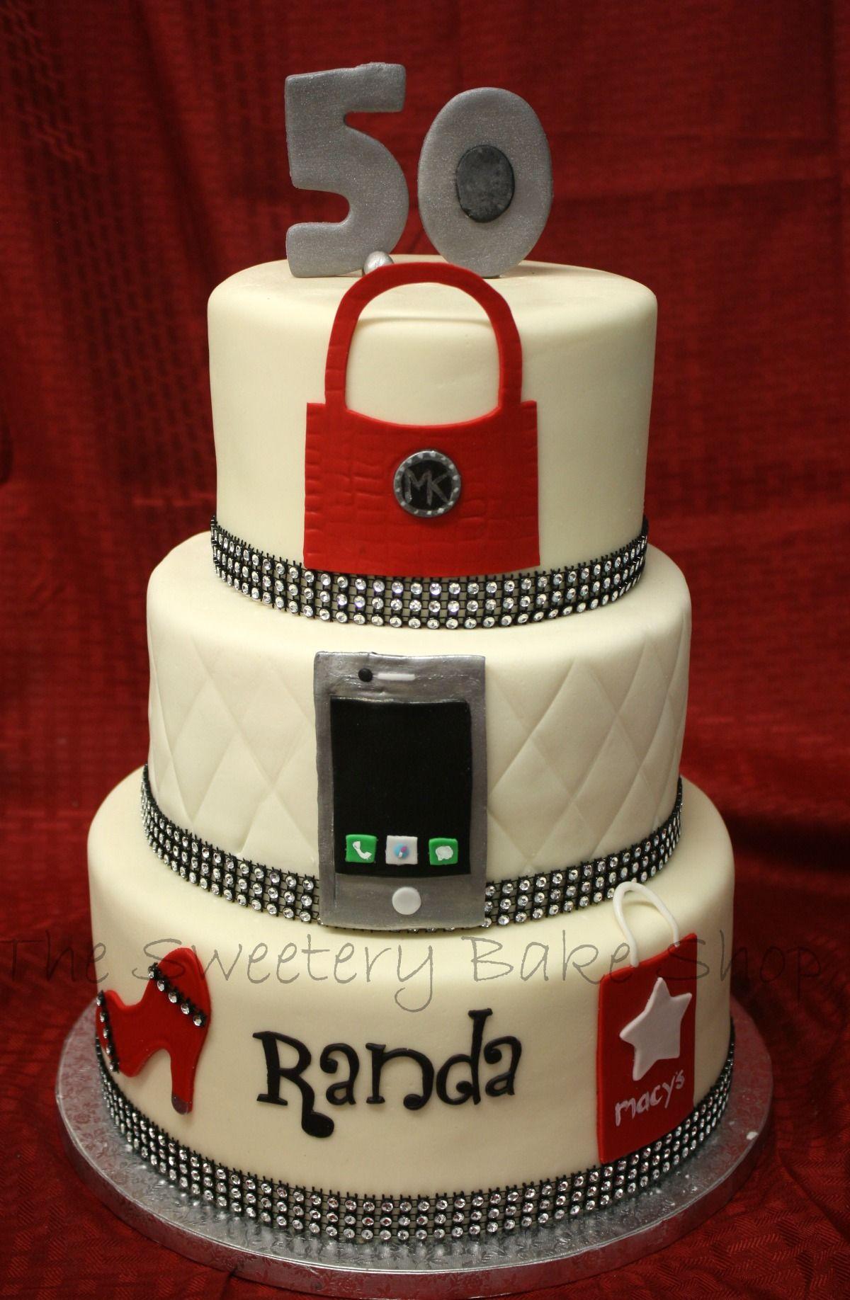 Three Tier Fashion Cake With An Mk Purse Iphone Shoe And Macys