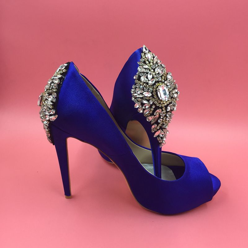 Royal blue satin pumps