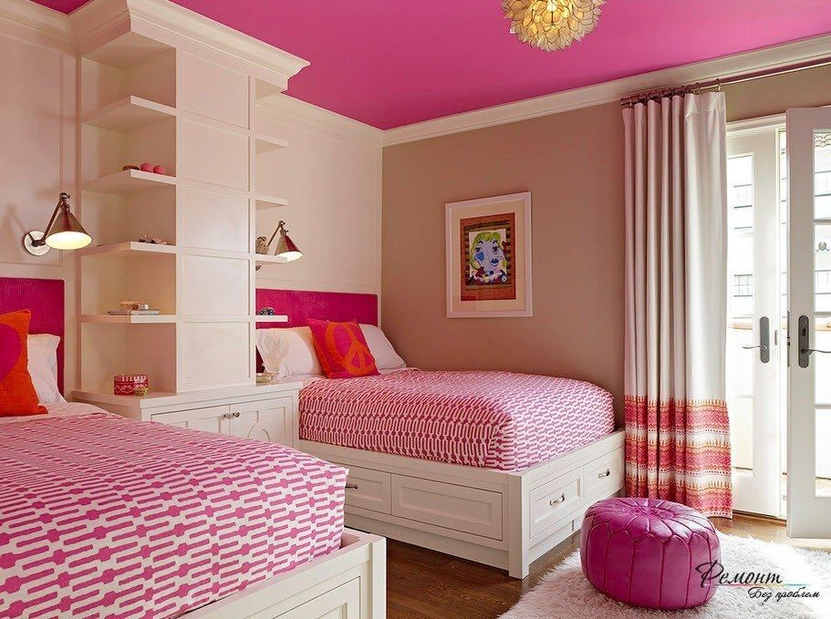 Modern Pink Bedroom With 2 Twin Beds 2015 Contemporary Bedroom