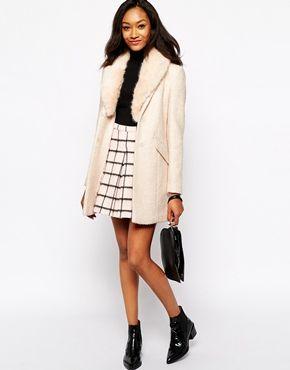 Enlarge Warehouse Tweed Faux Fur Collar Coat | style | Pinterest ...