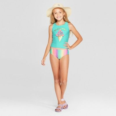 178670de1beb6 Girls  Icy Cone Tankini Set - Cat   Jack Aqua XL Plus