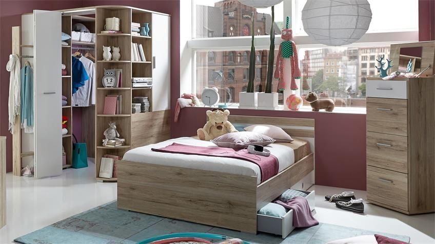 Jugendzimmer Set Joker Bett 140x200 San Remo Eiche Alpinweiss In 2020 Bett 140x200 Jugendzimmer Kinderzimmer Mobel