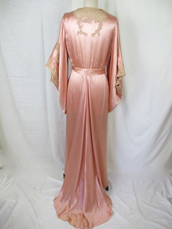 a3a49aa71 1930s Glamourous Silk Satin and Lace Night Gown Dressing Gown via Etsy.  Tova s Vintage Shop