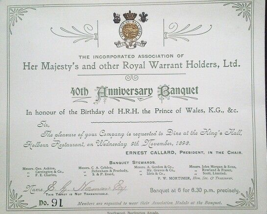 40th royal warrant holders banquet invitation 1898 atloff norman 40th royal warrant holders banquet invitation 1898 stopboris Images