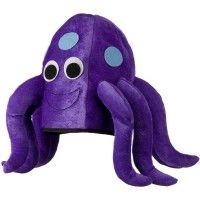 Made of 100% polyester. One size fits most, up to XL. Crown measures 10 inches deep, lined inside. Hat  measures 10 x 11 inches. Has tentacles measuring 8 inches long from crown of hat. Thin, light and soft material. Hand washable only. Imported. Available in different styles and colors.