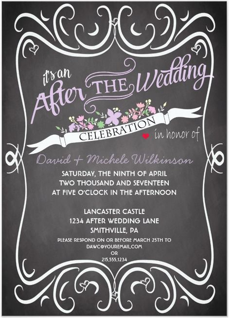21 Beautiful At Home Wedding Reception Invitations Destination Wedding Details Chalkboard Wedding Invitations Wedding Reception Invitations Reception Invitations