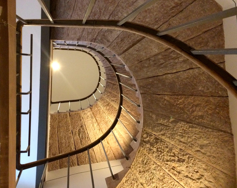 staircase, lighting design: christoph pullmann (cap), viabizzuno cubo 15, staircase architecture: archicult wuerzburg