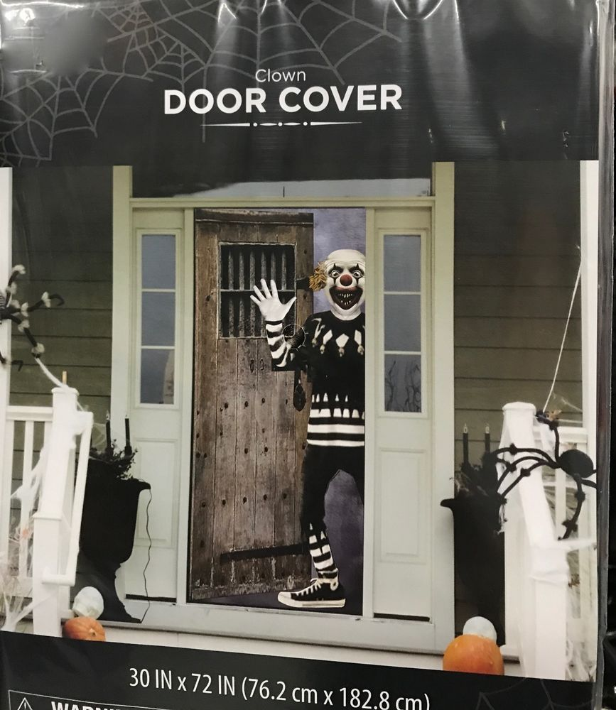 Halloween Scary Clown Door Cover Or Wall Decoration 30 X 72 Scene Sette Halloween Door Decorations Scary Halloween Decorations Halloween Classroom Door Decor