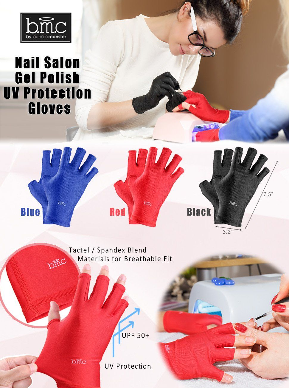 Amazon.com : BMC 3pk of Nail Salon Anti-UV Protection Gloves for LED ...