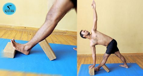parivrtta trikonasana with blocks  basic yoga poses yoga