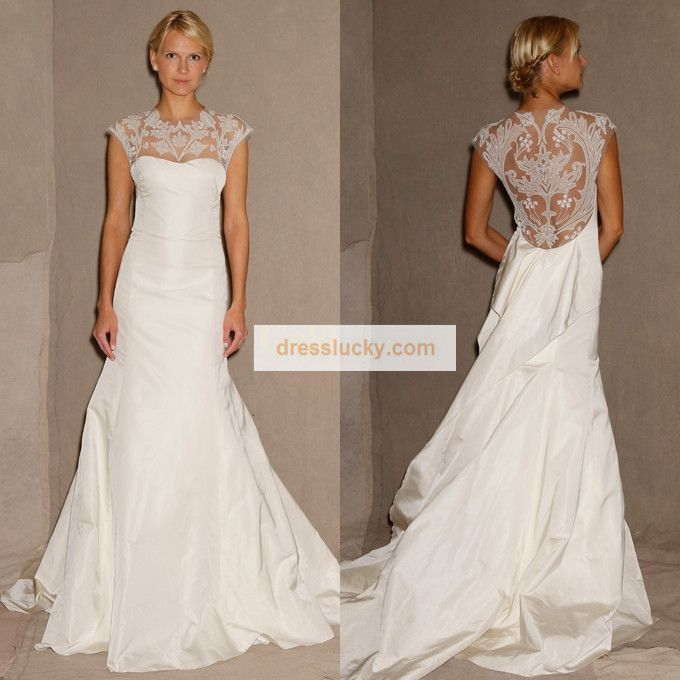 2013 New Trends! Stunning Sheer Lace Cover up Back Wedding Dress ...