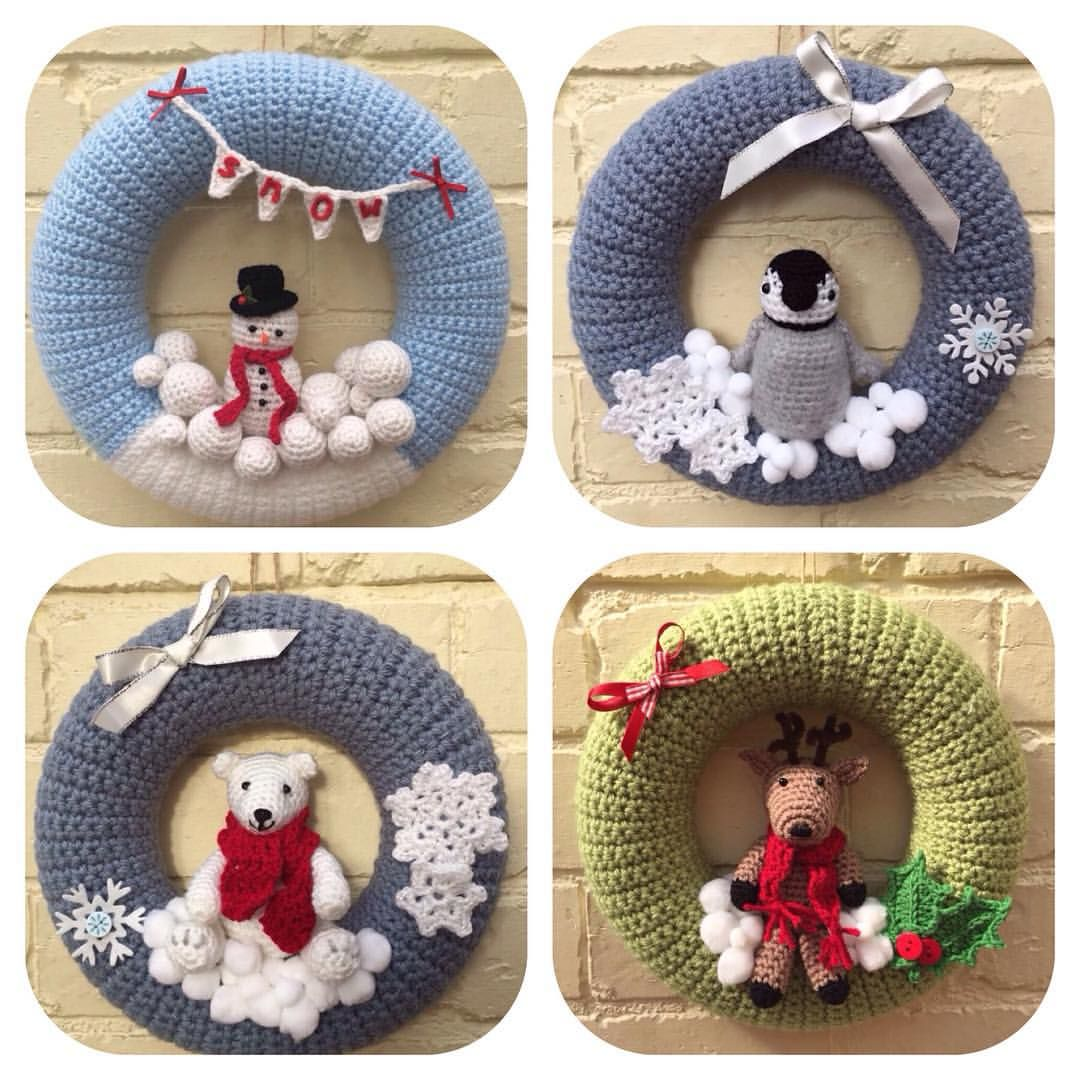 "Photo of Liane on Instagram: ""Lots of wreaths from last year (snowman wreath pattern by #repeatcrafterme #amigurumi #croche #crochet #create # crochetcommunity…"""