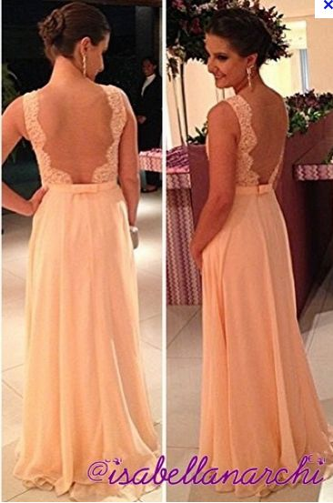 fashion long Vestido De Dama wedding party dresses 2015 peach nude ...
