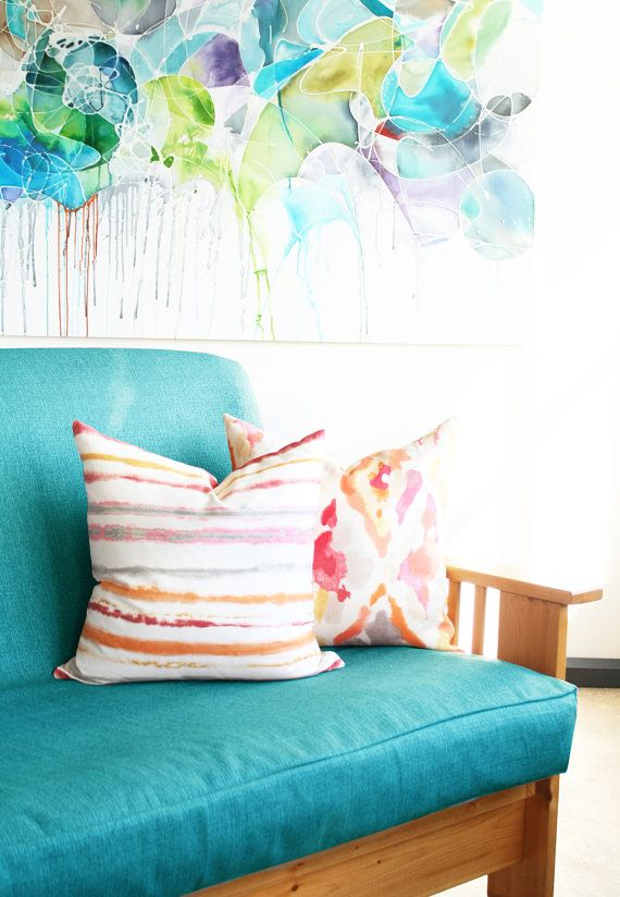 Teal Blue Futon Mattress Cover In Slubbed By Tonicliving On Etsy